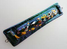 glass artists of Israel | ... Dichroic Kiln Fused glass Mezuzah case israeli Beautiful Judaica art