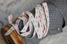 Vintage French, laundry labels, woven number tape, laundry markers, dressmakers labels, woven tape, red number tape, No. 2, number ribbon