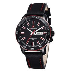 NAVIFORCE Genuine Leather Strap Mens Cool Military Watches Calendar Quartz Watch #NAVIFORCE #Military
