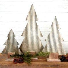 Corrugated Tin Tree With Wood Base, Set of 3