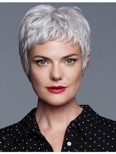 Cute Pixie Cut Older Women Grey Hair Wig With Bangs 8416a1df8