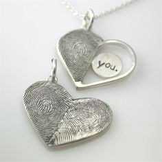 Sterling Silver Custom Double Print Heart Pendant--for a surprise gift.