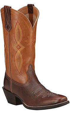 Ariat Round Up II Women's Textured Acorn with Tan Top Punchy Square Toe Western Boots | Cavender's