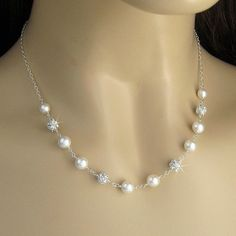 Pearl Necklace -  Pearl and Crystal Rhinestone Fireball Wedding Necklace in White or Ivory - Pearl Bridal Necklace - Bridal Jewelry. $46.00, via Etsy.