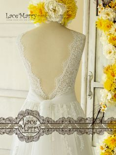 a17422a0eb4 Trendy Lace Wedding Dress in Bohemian Style from Soft Tulle and French Lacy  Applique