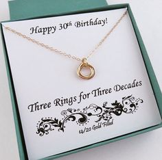 30th Birthday for Her, Gold 30th Birthday Gift, gold, 3 gold rings, love knot, 14k gold filled, 3rd anniversary, 30th anniversary, 3 sisters by MarciaHDesigns on Etsy https://www.etsy.com/listing/508217281/30th-birthday-for-her-30th-birthday-gift