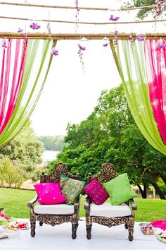 ♥ mandap ♥ Indian ♥ fusion ♥ wedding ♥ decor ♥ ceremony ♥ lamp ♥ flowers ♥ outdoor ♥ cushions ♥