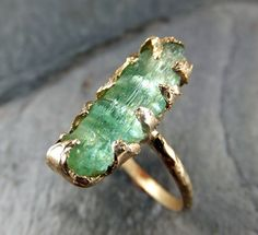 Raw Green Tourmaline Gold Ring Rough Uncut Gemstone by byAngeline, $795.00