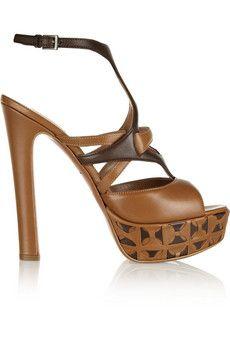 Alaïa Two-tone leather platform sandals   THE OUTNET