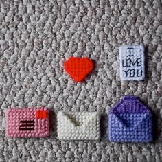 """Plastic Canvas PATTERN, Mini Motifs -- Valentine's Day by ReadySetSewbyEvie, $2.00 .   My Etsy store, """"Ready, Set, Sew!"""" by Evie is now OPEN!!! I would be very grateful if you would stop by and check it out. :)  It's a humble start -- but good things (and new items!) are """"in store"""" for 2014! [Note: PDF Pattern ONLY at this time. . .not actual item.]"""