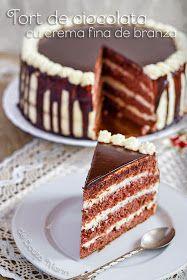 Din bucătăria mea: Tort de ciocolata cu crema fina de branza Romanian Desserts, Romanian Food, Food Cakes, Cupcake Cakes, Sweet Cakes, Let Them Eat Cake, Cake Cookies, Cake Recipes, Sweet Treats
