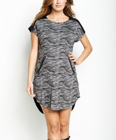 Look at this Black Space-Dye Zipper Maternity Dress on #zulily today!