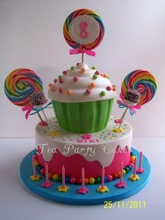 This is the cake I made for my daughter's 8th birthday this weekend. It's the first time I've attached the candles to the cake board and I really liked the look. I've attached a couple of pictures of the dessert table that I made as well just for...