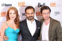Jessica Chastain, filmmaker Ned Benson and James McAvoy at The Disappearance Of Eleanor Rigby: Him And Her #tiff13