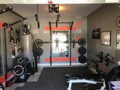 home Gym Goals - Garage Gym of the Week Jay and Michelle. Home Gym Basement, Home Gym Garage, Diy Home Gym, Gym Room At Home, Home Gym Decor, Best Home Gym, Home Gym Set, Workout Room Home, Workout Rooms