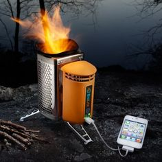 Cook your chow and charge your phone at the same time with this clever combustion kit, and stay green in the Great Outdoors.