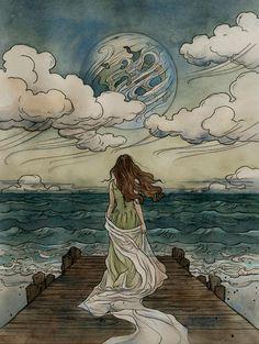 illustration art Magical fairytales illustrated by Liga Klavina - Bleaq Tolkien, Images Esthétiques, Love Images, Fairytale Art, Fairytale Drawings, Art Plastique, Aesthetic Art, Aesthetic Women, Aesthetic Pictures