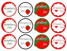 Food Labels: Decorate your homemade jars of Strawberry Jam with these cute red labels. Print, cut & tie to the jar. Jam Jar Labels, Canning Jar Labels, Jam Label, Gift Labels, Food Labels, Gift Tags, Printable Lables, Free Printables, Jar Food Gifts