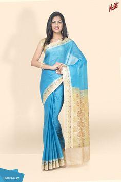 Presenting the newest addition to our Banarasi Saree collection - A gorgeous Blue Banarasi Tussar Silk Saree with zari and thread work border!