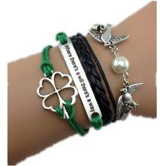 71a97ceed5e Yu look(TM) Handmade Love Birds Four Leaves Clover Leather Rope Wrap  Bracelet Fashion
