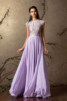 purple gown, lavender gown, cap sleeves gown, bodice work, georgette gown, roka outfit, flowy, welcome night outfit, friend of the bride, sister of the bride