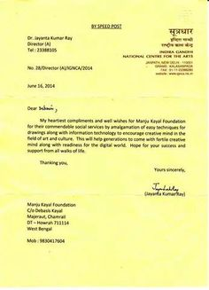 Appreciation letter from the Director of Indira Gandhi National Centre for the Arts, New Delhi, India
