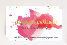Custom Business Card Design-Premade Pink Red Gold Watercolor Printable Business Card