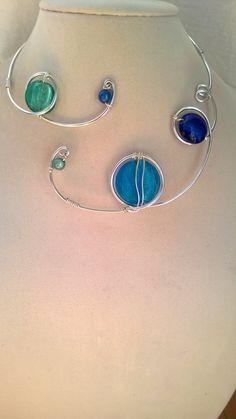 Modern necklace Aluminium wire necklace par LesBijouxLibellule