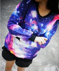 Long Sleeves Sweatshirt with Galaxy Print - Sweatshirts & Hoodies - Clothing