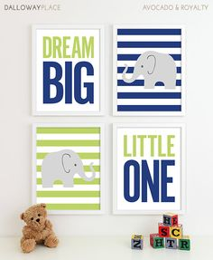 Baby Boy Nursery Art Chevron Elephant Nursery Decor by DallowayPlaceKids
