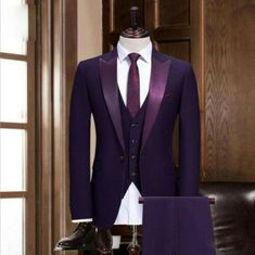 Dark Gray Wedding Suits 3 Pcs Groom Tuxedos Formal Groomsman Lapel Custom Made. We appreciate your patience & understanding. If you not satisfy the dress or service. We are very glad to solve all problems. Purple Tuxedo, Purple Suits, Purple Coat, Purple Grey, Black Suit Wedding, Wedding Men, Man Suit Wedding, Best Wedding Suits For Men, Dark Purple Wedding