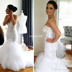 2016 Lace Mermaid Wedding Dresses Bling Crystals Sweetheart Backless Tiered Tulle Chapel Train Sexy Bridal Gowns for Spring Church Wedding Online with $139.33/Piece on Sweet-life's Store | DHgate.com