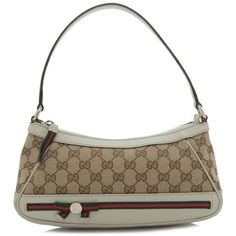 Pre-owned Gucci Shoulder Bag ($310) ❤ liked on Polyvore featuring bags, handbags, shoulder bags, beige, beige leather handbags, shoulder strap bags, white handbag, gucci purse and shoulder hand bags