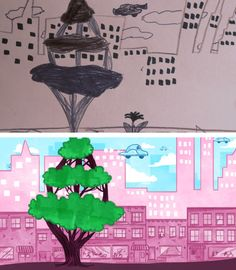 """Katherine, 7 ½ – Future City  Flying car over buildings and a small town. And a tree.  ------ """"Kids have the ability to come up with some pretty amazing things, but not always the ability to draw exactly what they were imagining. I'm here to help make those drawings come a little bit closer to reality."""""""