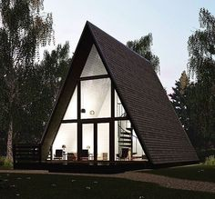 Architecture – Enjoy the Great Outdoors! A Frame House Plans, A Frame Cabin, Prefab Homes, Cabin Homes, Triangle House, Dome House, Tiny House Design, Cozy Cottage, Cabins In The Woods