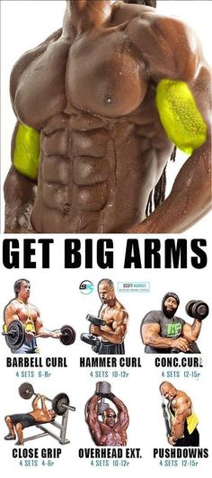 HOW TO GET BIG ARMS 🚨 BARBELL CURL Technique of execution Take the bar, stand level, the arms are lowered, this is the starting position; Start lifting the bar without retracting your elbows back when the bar is at shoulder level, maximally tighten your Fitness Workouts, Training Fitness, Weight Training Workouts, Gym Workout Tips, At Home Workouts, Insanity Fitness, Extreme Workouts, Workout Men, Workout Routines