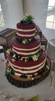Red velvet naked wedding cake with Blackberries and Wildflowers