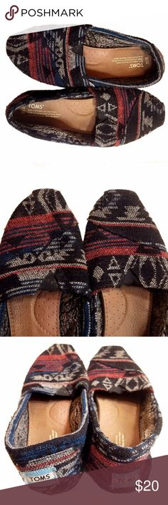 TOMS Wool Shearling Classics Slip On Loafer 10 W Size 10 W Classic Toms  Used Condition (No Rips/Holes...See heel wear in photos 4 and 6)  // hipster cool casual spring fall graphic cozy shoe slip on flats wool aztec tribal Toms Shoes Flats & Loafers