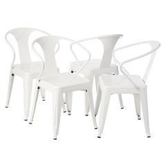 Great For Back Garden   White Tabouret Stacking Chairs (Set Of