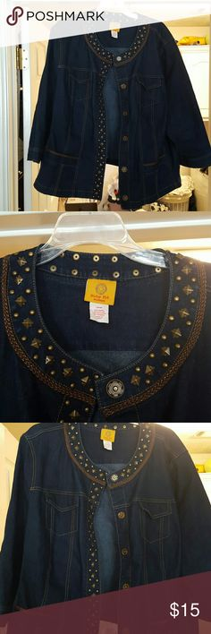 Denim jacket Dark blue denim jacket with studded decoration down the front, around the neckline. Two functional chest pockets as well as two more functional pockets on the bottom front. Braided decoration along neckline and front bottom pocjets. Excellent condition. Worn only a few times Ruby Road Jackets & Coats Jean Jackets