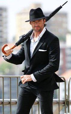 Hugh Jackman With Umbrella