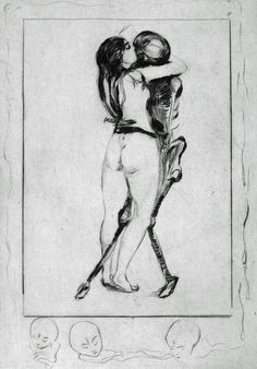 Death and the Maiden, 1894 engraving by Edvard Munch (Norwegian, 1863 – 1944)