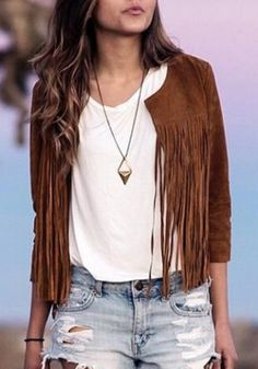 Stylish Round Neck 3/4 Sleeve Solid Color Fringed Women's Jacket