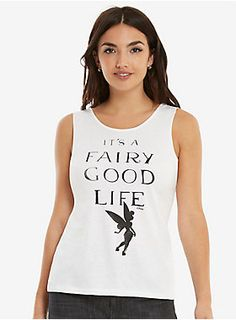"""This low-back tank top from Disney and Junk Food is totally magical! This white top has Tinker Bell and celebrates how awesome life is.<div><ul><li style=""""list-style-position: inside !important; list-style-type: disc !important"""">50% polyester; 37% cotton; 13% rayon</li><li style=""""list-style-position: inside !important; list-style-type: disc !important"""">Wash cold; dry low</li><li style=""""list-style-position: inside !important; list-style-type: disc !important"""">Made in the USA by Junk…"""