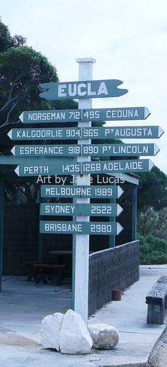 A feature of many parts of Australia is it's a Big Distance to Anywhere. This sign in tiny Eucla, on the Nularbor Plain close to the WA/SA border, amply demonstrates the distances of Australia. Perth, Brisbane, Melbourne, Australia Visa, South Australia, Western Australia, Australia Travel, Terra Australis, Australian Plants