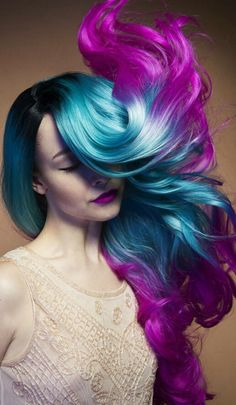 Blue purple ombre dyed hair color @daryna_barykina