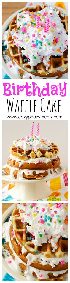 An easy and fun way to celebrate a birthday with breakfast! This uses a cake mix, and whipped frosting, and comes together in no time, while being totally impressive. Birthday Waffle Cake