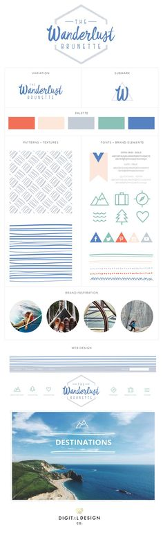 Brand Launch: The Wanderlust Brunette | Brand Board, Brand Styling, Brand Design, Visit http://www.thedigitaldesignco.com/wanderlust-brunett to see more of this brand design and the process!