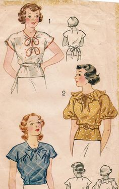 1930s Simplicity 1969 Vintage Sewing Pattern Juniors and Girls Blouses Size 14 Bust 32. $18.00, via Etsy.