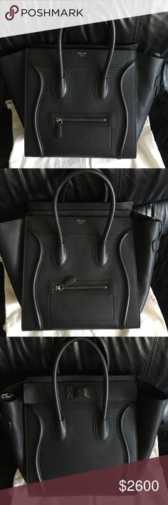 Celine Mini Luggage Black Bag Grained leather, authentic, comes with cards and the dust bag, suede lining Celine Bags Satchels